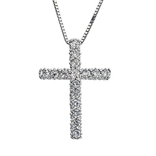 1/4ct Diamond Cross Pendant in 10K White Gold (1/4 Ct Diamond Cross Pendant)