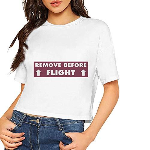 JiJingHeWang Women's T-Shirt Remove Before Flight Short Sleeves Lumbar Tee White