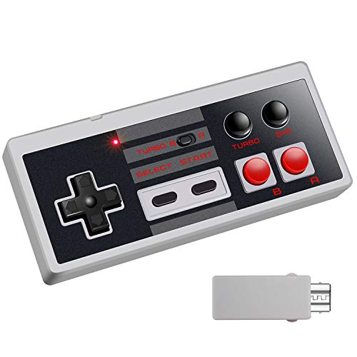 Wireless Controller for NES Classic, Eloiro 2.4G Rechargeable Gamapad with Receiver Turbo Switch, Compatible for Nintendo NES Classic Mini Edition Gaming System Joystick