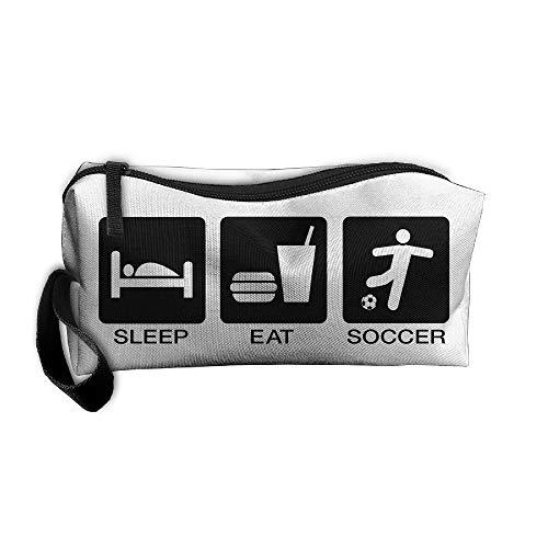 Jessent Coin Pouch Eat Sleep USA Madrid Soccer Pen Holder Clutch Wristlet Wallets Purse Portable Storage Case Cosmetic Bags Zipper
