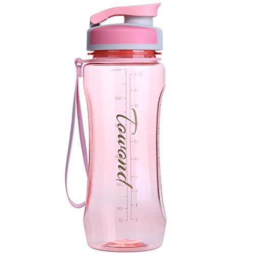 20 Ounce BPA Free Shaker Water Bottle w/Filter, Leak Proof Flip Top