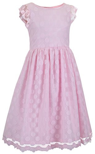 Emma Riley Girls' Cap Sleeve Polka Dot Party Dress 8 Pink for $<!--$39.49-->