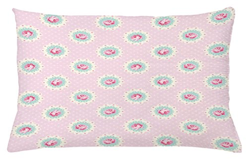Ambesonne Shabby Chic Throw Pillow Cushion Cover, Retro Style Polka Dotted Backdrop and Floral Motifs Roses Cottage, Decorative Accent Pillow Case, 26 W X 16 L Inches, Baby Pink White Seafoam