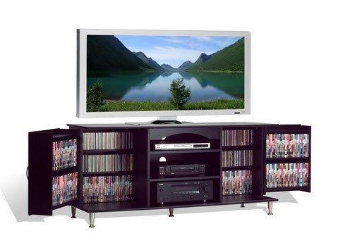 Flat Screen Plasma or LCD TV Stand Media Storage Cabinet Entertainment Center with Doors (Plasma Tv Media Cabinets)