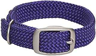 product image for Mendota Pet Double Braid Collar - Satin Nickel - Dog Collar - Made in The USA - Purple , 9/16 in x 12 in Junior
