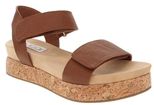 (Sugar Women's Microchip Platform Cork Wedge Sandal 6.5 Cognac)