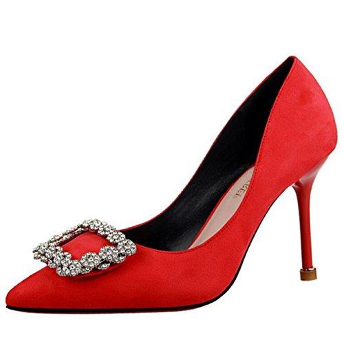 Mashiaoyi Damen Spitze-Zehe Stiletto ohne Verschluss Diamant Pumps Rot