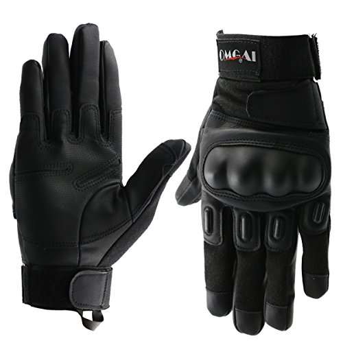 OMGAI PU Leather Motorcycle Tactical Gloves Full Finger Outdoor Sports Gloves Black,XL