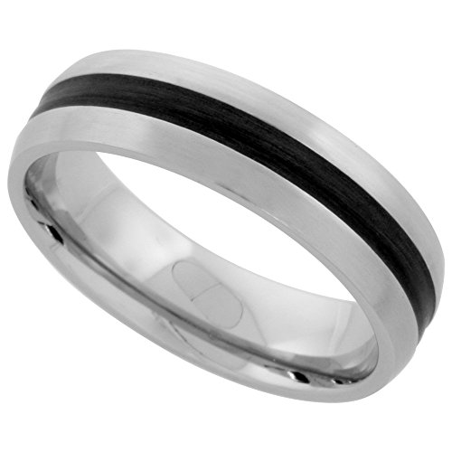 (Stainless Steel Domed 6mm Wedding Band Ring Black Stripe Inlay Center Matte Finish Comfort-fit, size 5)
