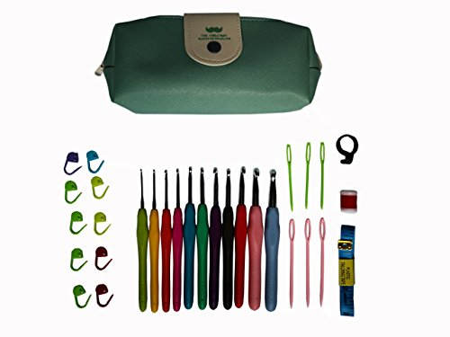 Jekayla 31 Pack Crochet Hooks Set with Case, Ergonomic Soft Handles, Aluminum Blunt Needles, Knitting Needle (Green)