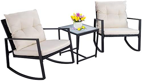 Walsunny 3 Pieces Patio Set Outdoor Wicker Patio Furniture Sets Modern Rocking Bistro Set Rattan Chair Conversation Sets with Coffee Table Black