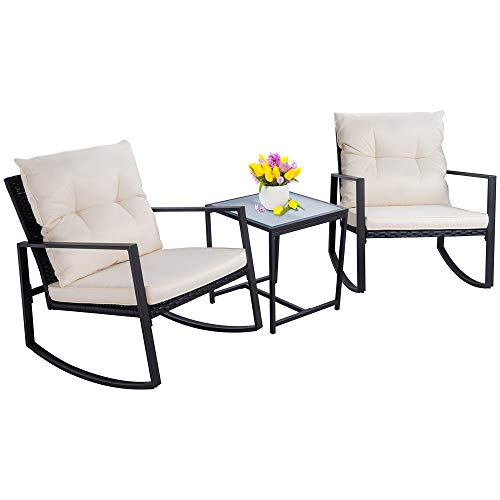 - Walsunny 3 Pieces Patio Set Outdoor Wicker Patio Furniture Sets Modern Rocking Bistro Set Rattan Chair Conversation Sets with Coffee Table (Black)