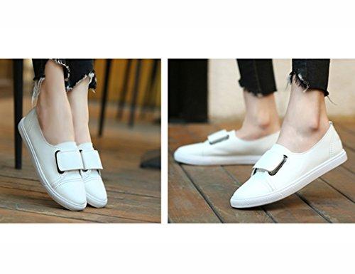 38 Flacher Mund Damenschuhe Weiß Flache Farbe Student HWF Freizeitschuhe Sommer Größe Leder Female g7wXwHInqx