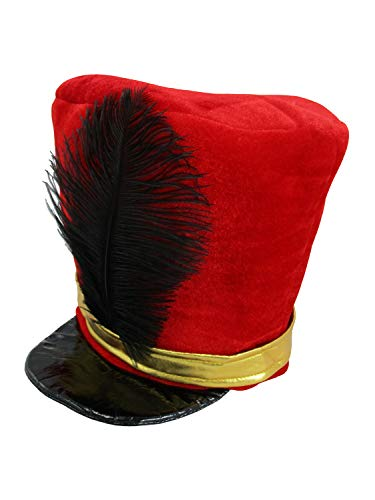 Band Major or Toy Soldier Hat Costume, Red Black, One Size