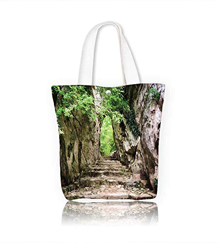Women's Canvas Tote Bag Scenic stone stairs leading up to gate in rocks among green foliage Forest in summer season work school Shoulder Bag W22xH15.7xD7 INCH