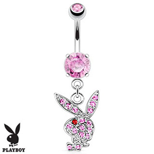 Multi Gems on Playboy Bunny Navel Ring Freedom Fashion 316L Surgical Steel (Button Rings Belly Bunny)
