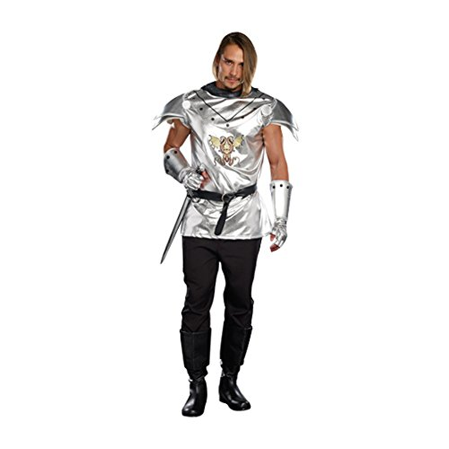 Dreamgirl Men's Royal Warrior Costume Knight Time, Silver, Medium