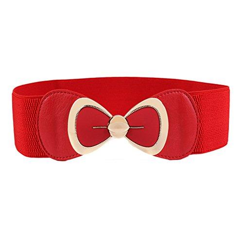 Gaosaili Women's Wide Elastic Stretch Waist Belt Bow Dress Ornament (Red)