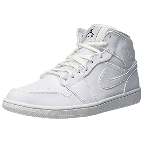 Nike Jordan Men's Air Jordan 1 Mid White/Black/White Basketball Shoe 10.5  Men US