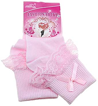 School Cotton Socks For Girls, Pink Color, 5/6 Years