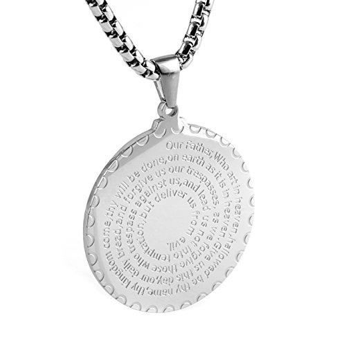 Cross Medallion Pendant - HZMAN Stainless Steel Lord's Prayer and Cross Medallion Pendant Necklace, Gold Tone 24