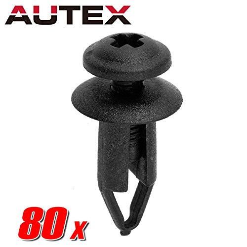 PartsSquare 80pcs Fender Liner Fastener Rivet Push Clips Retainer for Geo Storm Nissan NV3500 NV QUEST PICKUP ALTIMA Maxima Sentra 200SX Axxess Titan Versa Stanza TRUCK-HARDBODY 300ZX PULSAR NX (Replacement Support Radiator Geo)