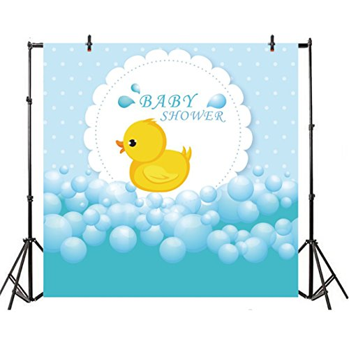 Leyiyi Baby Shower Backdrop 6x6ft Photography Backdrop Yellow Cute Bath Duck Blue Pops Kids Adults Video Props ()