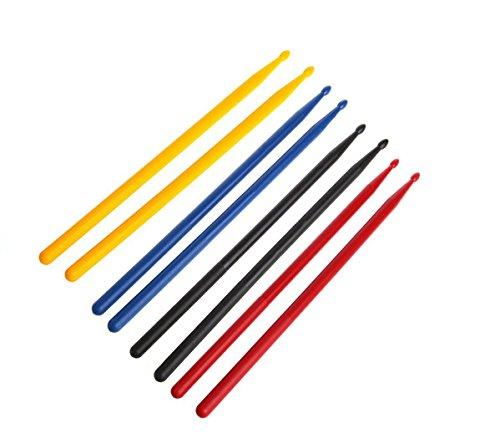 Plastic Drumsticks - Timiy 4 Pairs Made of Plastic Nylon Durable Professional Drum Sticks Kit Lightweight (Yellow, Blue, Red, Black)