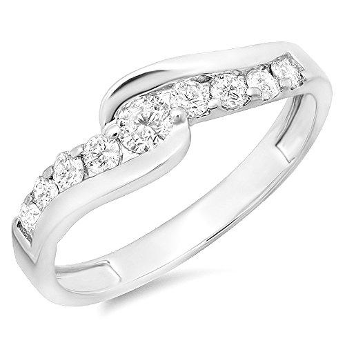 Dazzlingrock Collection 0.50 Carat (ctw) 14k Round Diamond Ladies Bridal Swirl Wave Promise Engagement Ring 1/2 CT, White Gold, Size - Ring Wave Diamond Gold