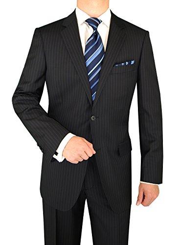 Luciano Natazzi Men's Two Button Canali Cashmere Wool Navy Stripe Suit (52 Long US / 62 Long EU)