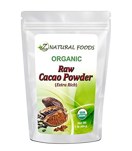 Premium Raw Organic Cacao Powder - Extra Rich - The Essence of Dark Chocolate - Grown, Dried, and Cold Pressed In The Dominican Republic - 100% Pure, Vegan, Non GMO, Gluten Free, Kosher - 1 lb -  Z Natural Foods