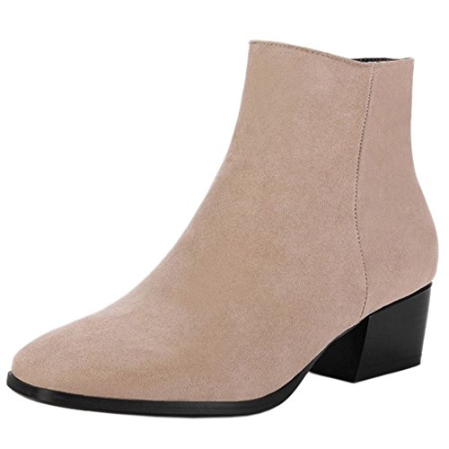 Dress Square Ivory Zip Women Ankle Boots Elegant COOLCEPT Heel Mid 7qpa7Xz