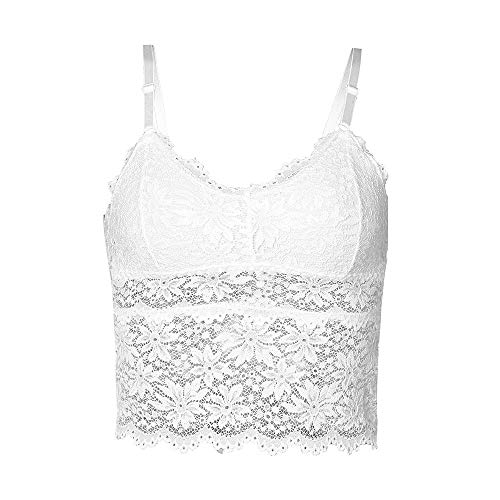 Conina Women's Lace Lingerie, Sexy Camisole Fitness Breathable Dailywear Detachable Cup Underwear with Chest Pad Tube Vest (AS Show, White)