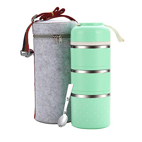 WORTHBUY Bento Lunch Box Stainless Steel Leakproof Food Storage Containers with Insulated Lunch Bag for Adults Women Men Kids (Green,3 tier) (For Container Thermal Hot Food)