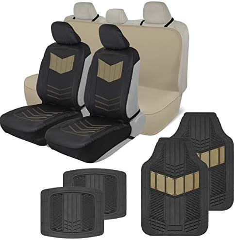 Motor Trend COMBO304 ComfortPlush Vegan Leather Sideless (Front 2pc) Waterproof Bench Seat Cover (Rear 1pc) & Heavy-Duty Floor 4pc Mat Car Auto (Sedan Truck SUV Minivan) Full Set Combo (Beige)
