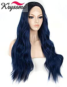 K'ryssma Lace Front Wig Blue Hair with Dark Roots Middle Part Blue Ombre Wig for Women Natural Wavy Long Synthetic Navy Blue Lace Front Wigs Glueless Heat Resistant