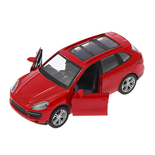 AutoGrad Porsche Cayenne Turbo Model Car Pull Back Friction Powered 1:38 Scale Miniature (Red)