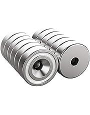 Magnetpro 12 stuks Magneten 6 KG Force 16 x 5 mm met gat en capsule, verzonken kop potmagneet met schroeven