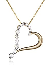 10k Gold Diamond Journey Heart-Shaped Pendant (1/4 cttw, H-I Color, 12-I2-I3 Clarity)