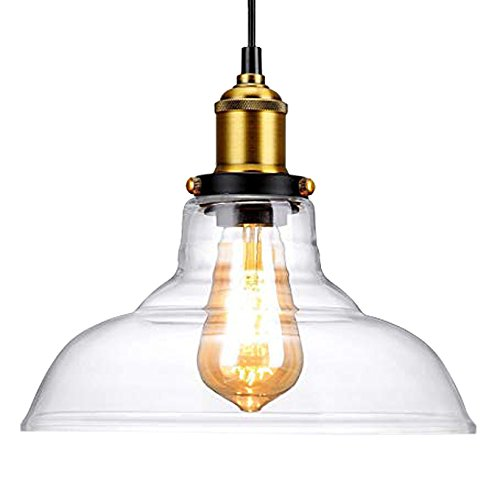 - Vintage Pendant Light, CMYK Industrial lamp Clear Glass Hanging Lampshades For Loft Bar Cafe Bedroom Office Home Decorative Lighting