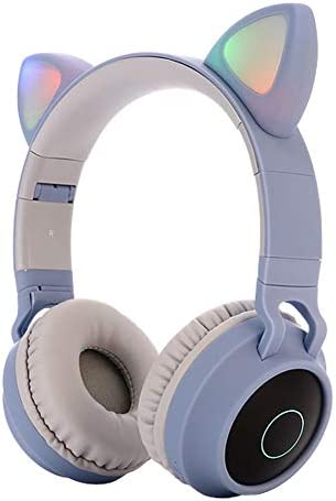 Kids Bluetooth 5.0 Cat Ear Headphones Foldable On-Ear Stereo Wireless Headset with Mic LED Light and Volume Control Support FM Radio TF Card Aux in Compatible with Smartphones PC Tablet Blue