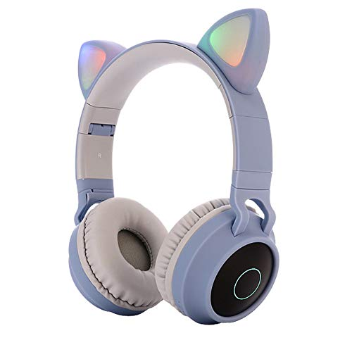 Kids Bluetooth 5.0 Cat Ear Headphones Foldable On-Ear Stereo Wireless Headset with Mic LED Light and Volume Control…