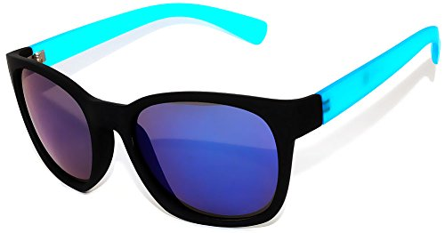 Vintage Style Sunglasses Flat Matte Reflective Blue Mirror - Blue Framed Glasses