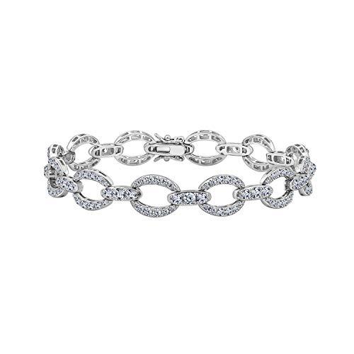 - Diamonbliss Platinum Plated Sterling Silver 7.2 ct Cubic Zirconia Bracelet, 7-1/4''