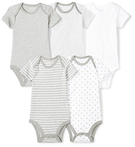 100% Cotton Bodysuit Set - Moon and Back Baby Set of 5 Organic Short-Sleeve Bodysuits, Grey Heather, 24 Months
