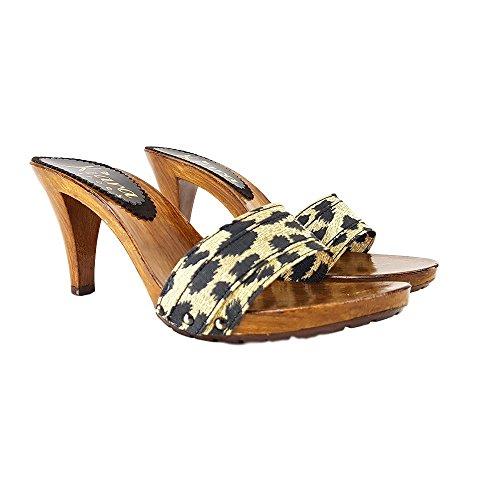 kiara shoes Sabots Leopardate Talon 9 cm-K6101 Leopardato