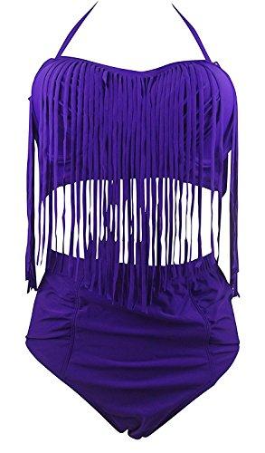 Pilusooou Plus Size Fringe Retro High Waist Bikini Vintage Swimwear Swimsuit PurpleXL(US10-12)
