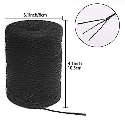 Vivifying 656 Feet Black Jute Twine, Natural 2mm Jute Cord for Crafts, Wrapping, Garden (Black) : Office Products
