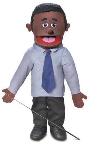 25'' Calvin, Black Dad / Businessman, Full Body, Ventriloquist Style Puppet by Silly Puppets