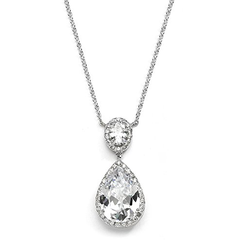 Platinum Plating (Mariell CZ Bridal Necklace Pendant with Oval-Cut Halo and Bold Pear-Shaped Teardrop - Platinum Plating)